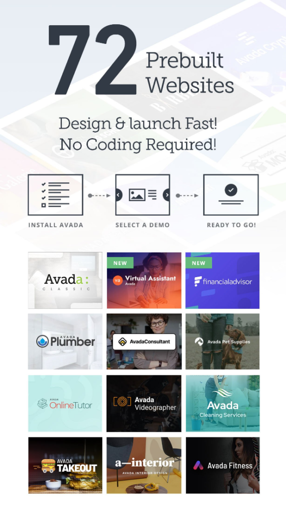 Avada theme layout & prebuilt