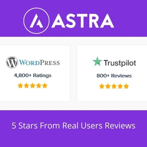 5 Stars Reviews on Astra Theme